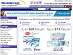 Vision Direct contact lenses online store screenshot